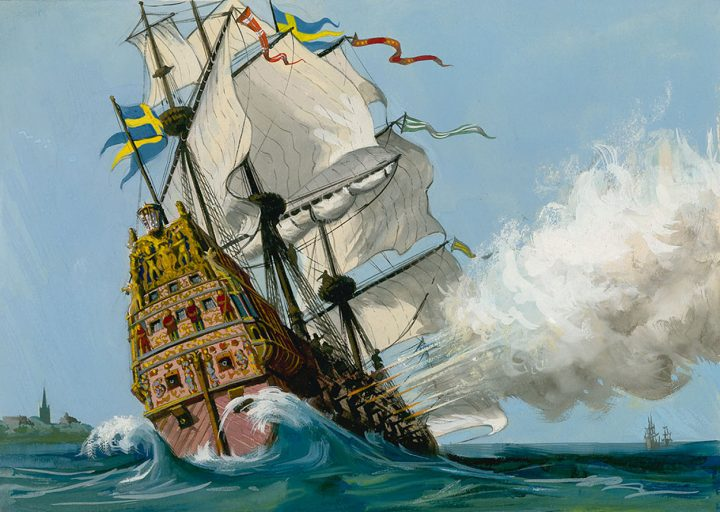 "The Swedish Warship ""Vasa"". Original artwork for Look and Learn (issue yet to be identified)."