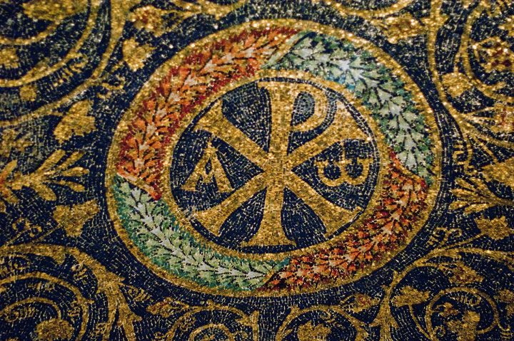 Chi-Rho with Alpha/Omega.  Mosaic.  Mausoleum of Galla Placidia.  Ravenna, Italy.  5C.