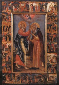 Апостол-Иоанн-Богослов-вручает-посох-Преподобному-Авраамию-209x300