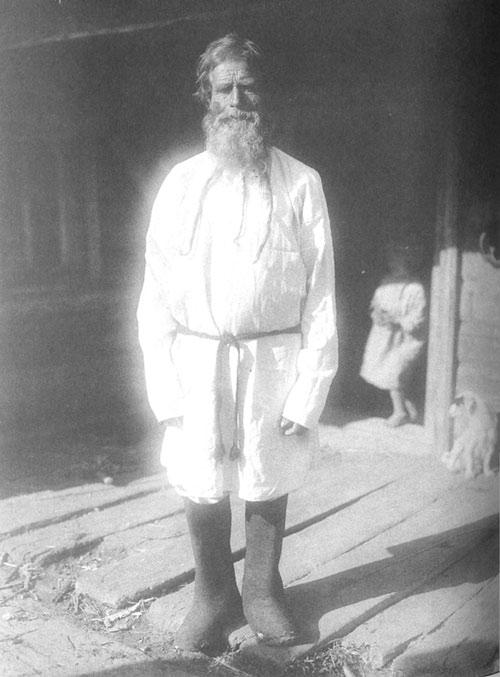 Старик в повседневной одежде. Архангельская губ., Архангельский у., посад Луда. 1910