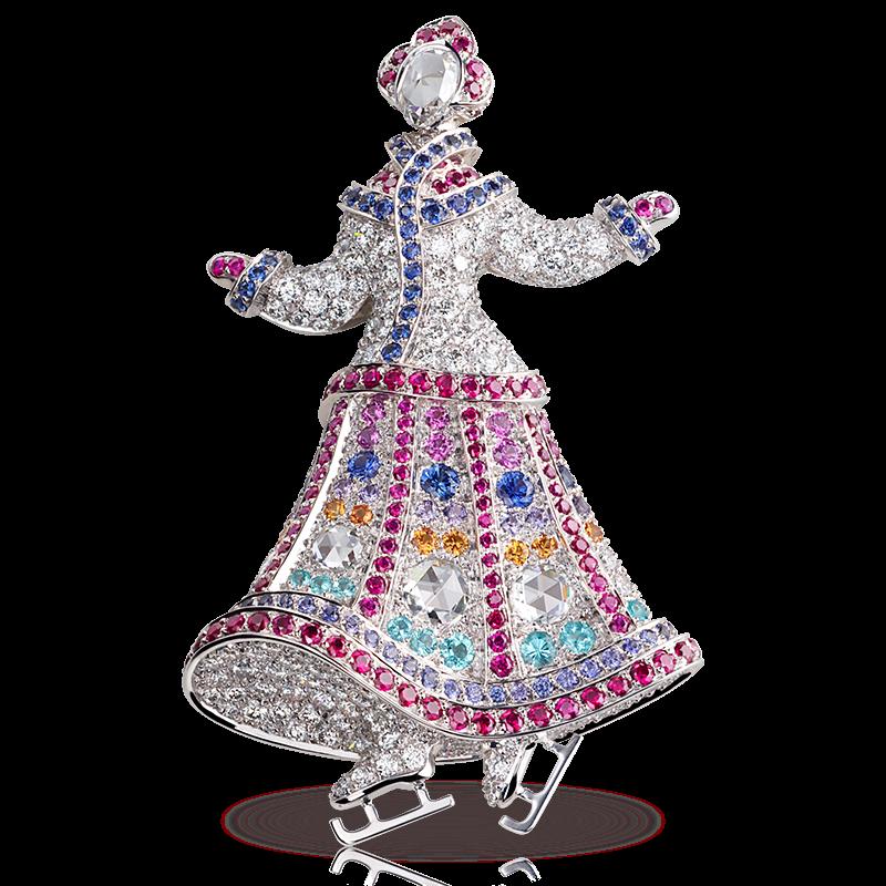 Брошь-кулон NEVA. белые и розовые бриллианты, сапфиры, рубины