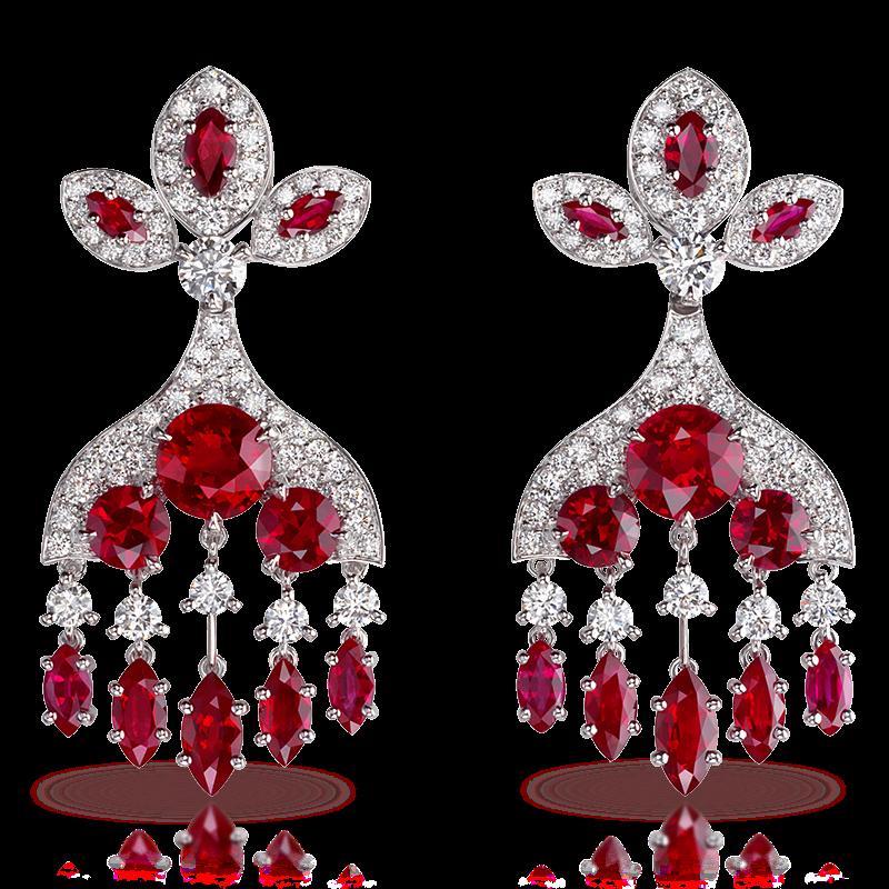 Серьги KOKOSHNIK. бриллианты, рубины