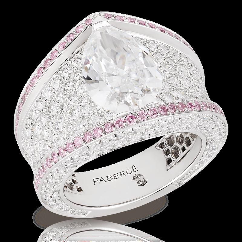 Кольцо SARAFAN. белые бриллианты и розовые алмазы