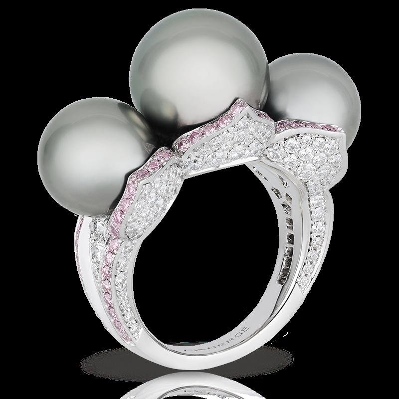 Кольцо SARAFAN PEARL. жемчуг, белые и розовые бриллианты