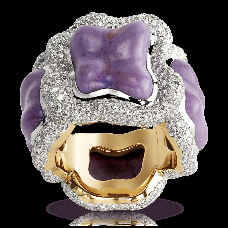 Кольцо VASILISA. по мотивам каменного цветка из сказки Бажова, яшма, белые бриллианты