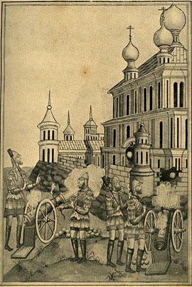 Воины стреляют в монастырские стены и церковь