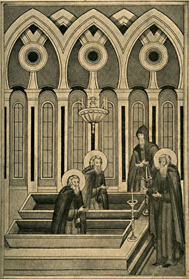 Некий старец виде преподобного Германа, вошедша в церковь и преподобных отец Зосима и Саватия, восставших в раках своих