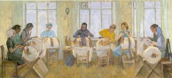 Плетение на козлах. Рязанские кружевницы, В.В.Агеев, 1980 г.