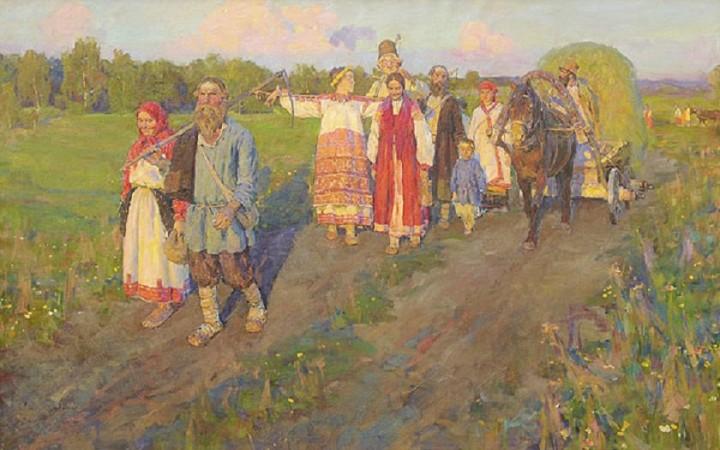 крестьяне идущие с сенокоса станислав бабюк