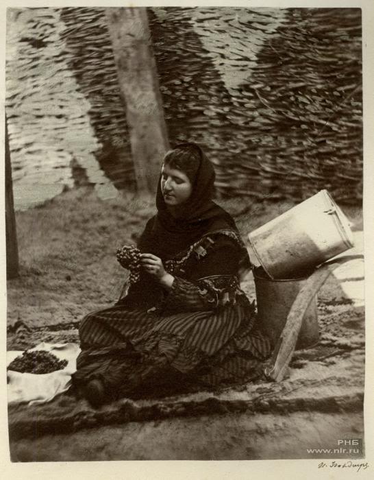 33 Казачка, перебирающая виноград. Цымлянская станица. 1875-1876