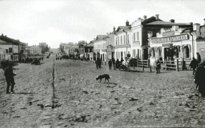 Московская улица. Вид от биржи.