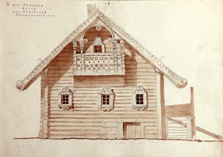 Дом Мемоева в с.Вешкелица (совр. Суоярвского р-на). Главный фасад