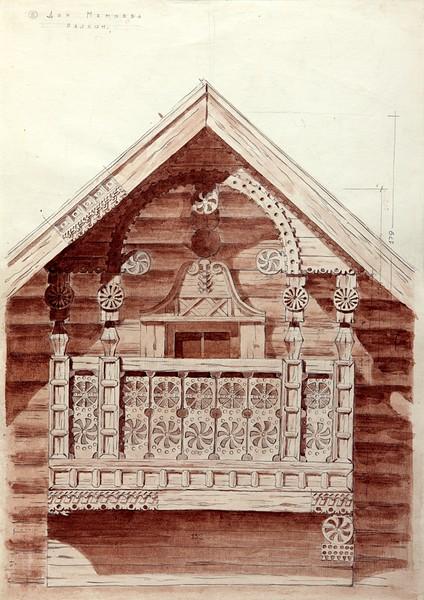 Дом Мемоева в с. Вешкелица (совр. Суоярвского р-на). Балкон.
